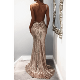 "SEQUIN MAXI BOW BACK EVENING DRESS - ""DIAMOND DIVA"", Evening  - Barbee Doll Boutique"