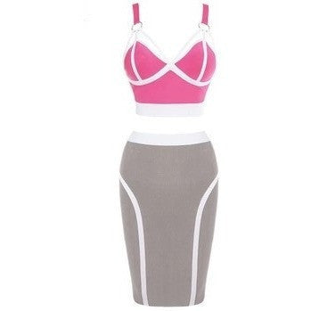 "2 PIECE MIDI BANDAGE DRESS - ""PLAYFUL"", Bandage  - Barbee Doll Boutique"