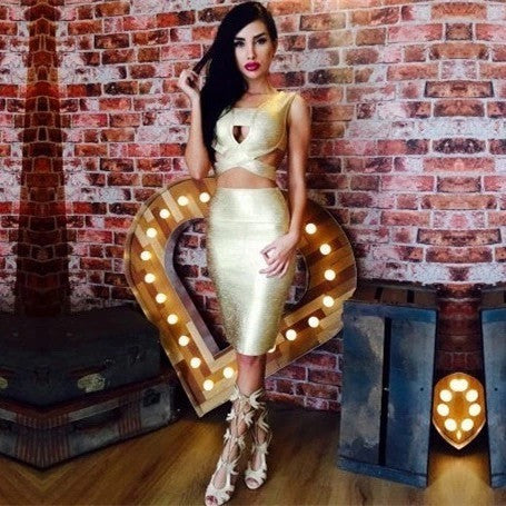 "2 PIECE GOLD MIDI BANDAGE DRESS - ""LA CHICK"", 2 Piece  - Barbee Doll Boutique"