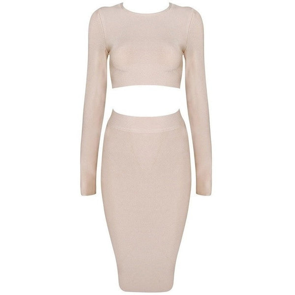 "2 PIECE MIDI BANDAGE DRESS - ""TASHI"", Bandage  - Barbee Doll Boutique"