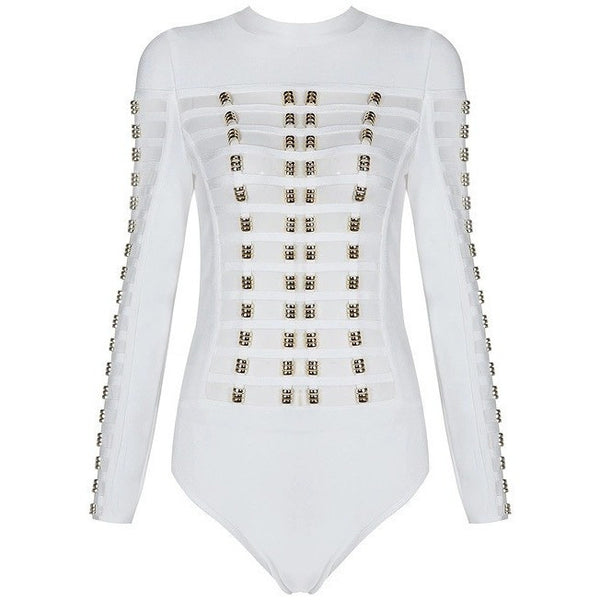 "STUDDED MESH BANDAGE BODYSUIT - ""BORN IN MIAMI"", Bodysuit  - Barbee Doll Boutique"