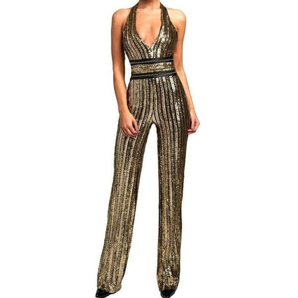 "SEQUIN HALTER JUMPSUIT - ""SPARKLE IN GLITTER"", Jumpsuits  - Barbee Doll Boutique"