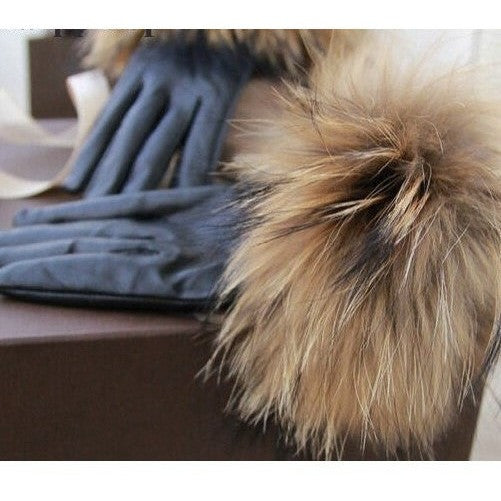 "LEATHER FUR TRIM GLOVES - ""FOXY"", Accessories  - Barbee Doll Boutique"