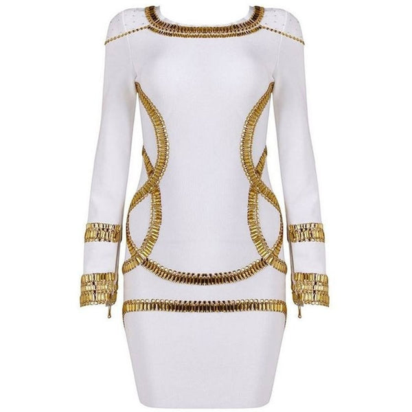 "RHINESTONE MINI BANDAGE DRESS - ""THE EMPRESS"", Bandage  - Barbee Doll Boutique"