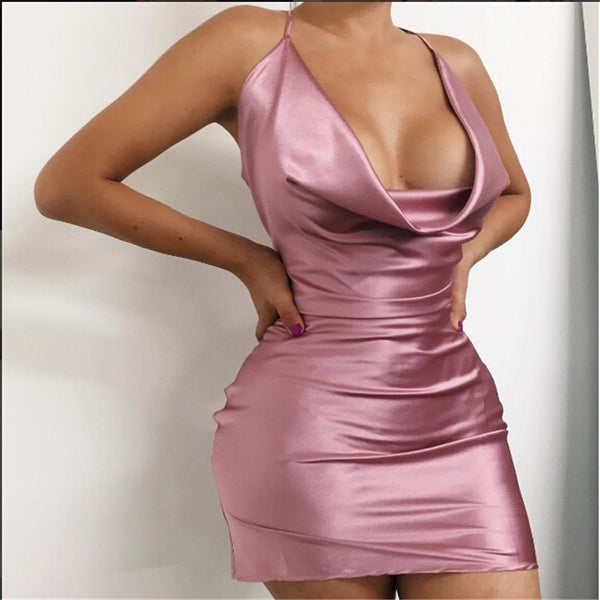 "SATIN MINI DRESS - ""RHEA"", Dress  - Barbee Doll Boutique"