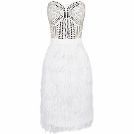 "STRAPLESS MIDI FEATHER BANDAGE DRESS - ""SWAN PRINCESS"", Bandage  - Barbee Doll Boutique"