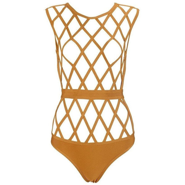 "CAGED BANDAGE BODYSUIT - ""SHADY"", Bodysuit  - Barbee Doll Boutique"
