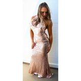 "SEQUIN MAXI BOW BACK EVENING DRESS - ""DIAMOND DIVA"""