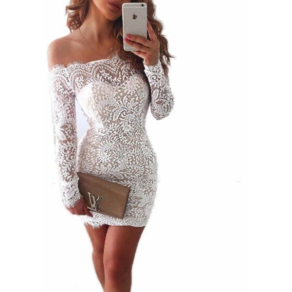 "OFF THE SHOULDER LACE MINI DRESS - ""WIFEY"", Dress  - Barbee Doll Boutique"