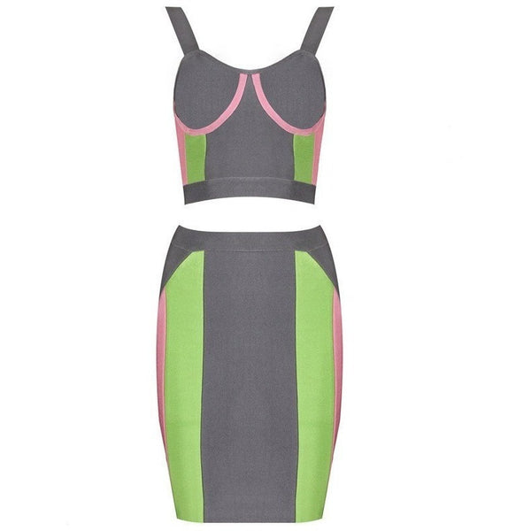 "2 PIECE MIDI BANDAGE DRESS - ""WANNABE"", 2 Piece  - Barbee Doll Boutique"