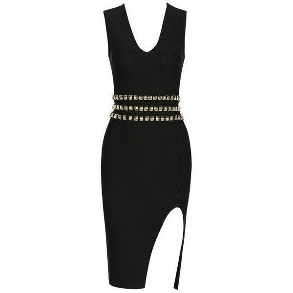 "MIDI STUDDED BANDAGE DRESS - ""SEX APPEAL"", Bandage  - Barbee Doll Boutique"