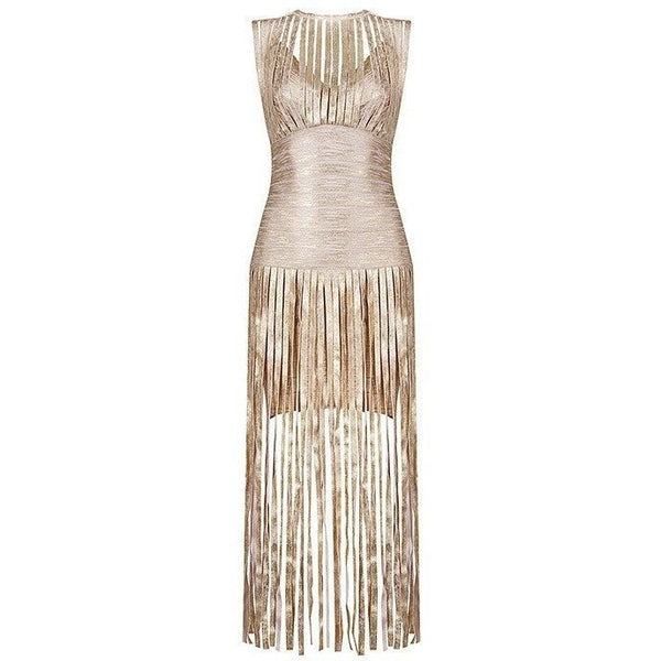 "MAXI TASSEL BANDAGE EVENING DRESS - ""IVANKA"", Bandage  - Barbee Doll Boutique"