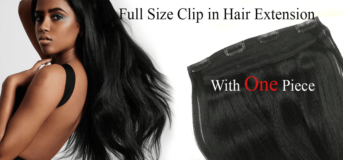 100% human hair, full size clip on hair extensions