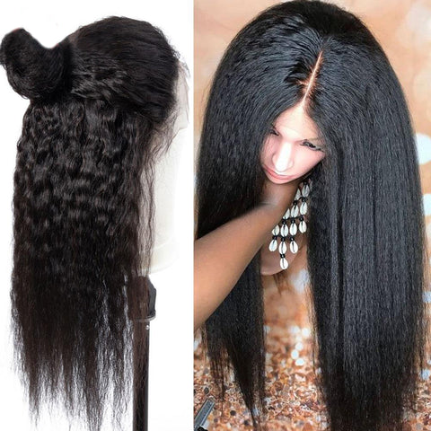 lace frontal peruvian kinky straight wig