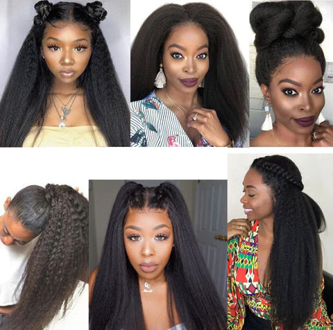 Lace frontal kinky straight wig