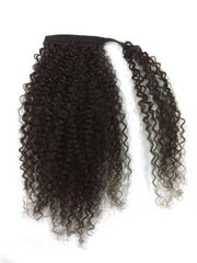 Wrap around 100% human hair kinky curl ponytail 14""