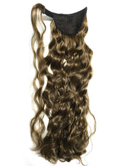 Wrap around 100% human hair French wave ponytail 22""