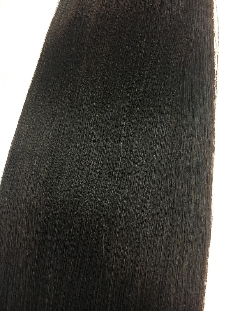 "Indian Remy Yaki Straight Human Hair Extensions - Wefted Hair 22"" - Hairesthetic"