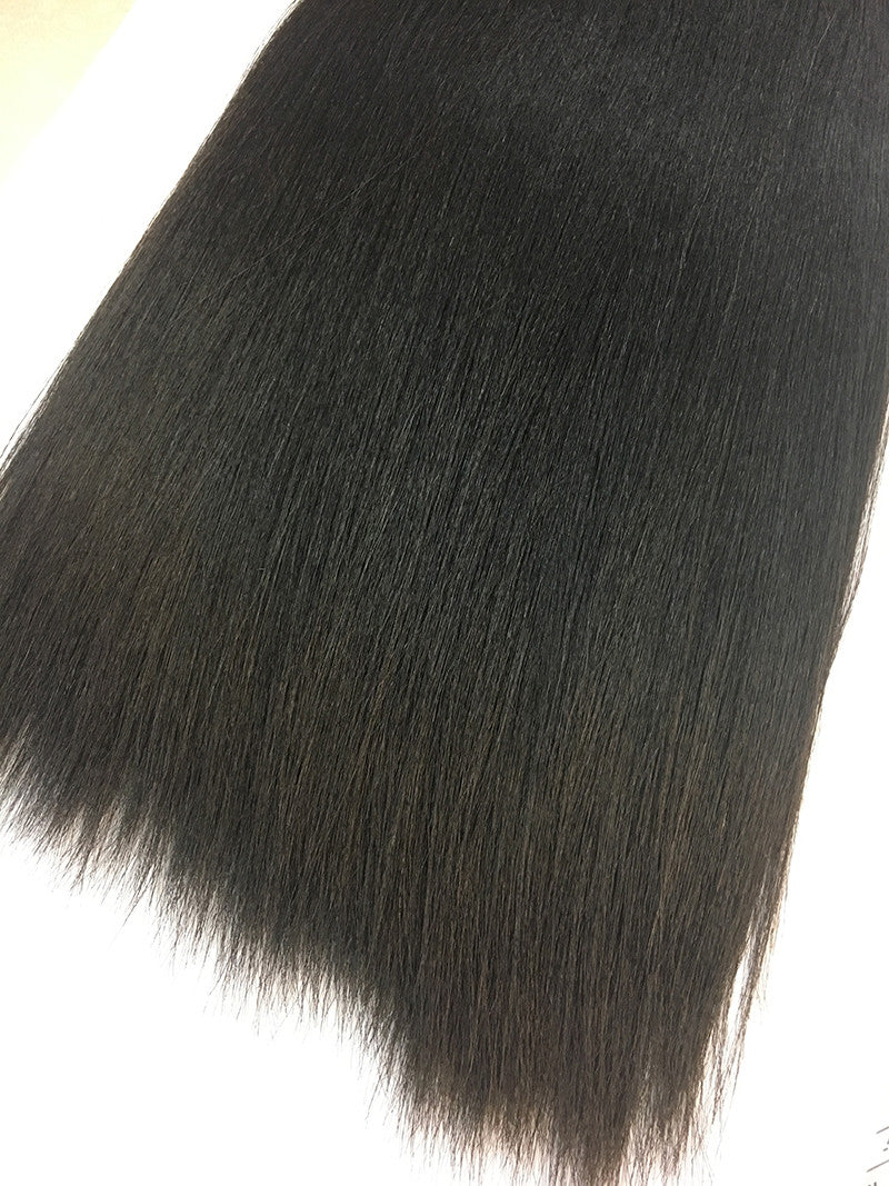 "Indian Remy Yaki Straight Human Hair Extensions - Wefted Hair 18"" - Hairesthetic"