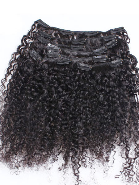 Clip on Human Hair in Kinky Curly 18""