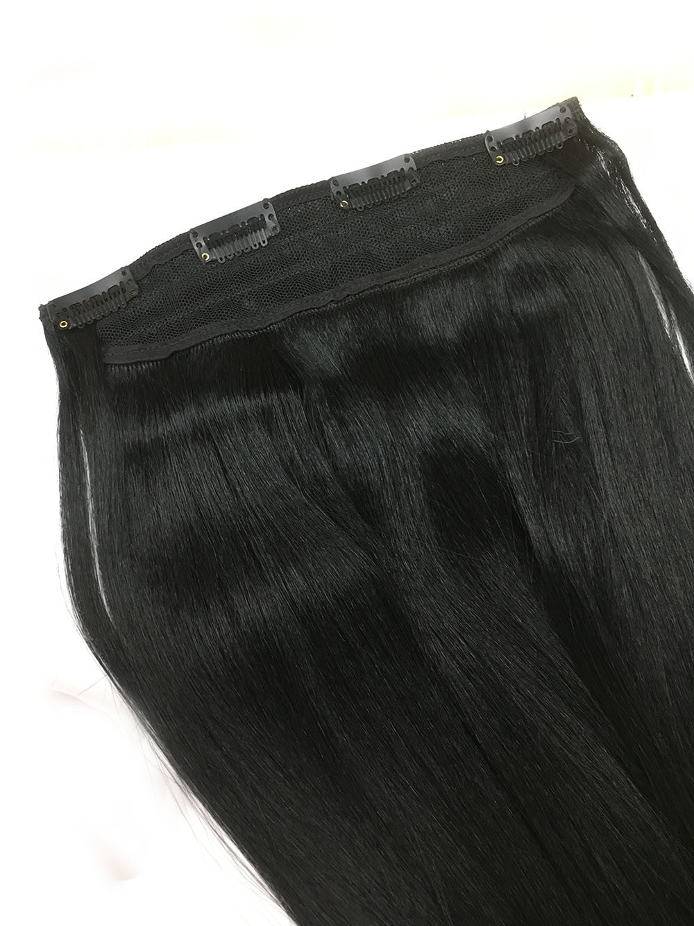 "Custom Full Head Single Clip In Extensions in Yaki Straight 14"" + Two 3"" side pieces"