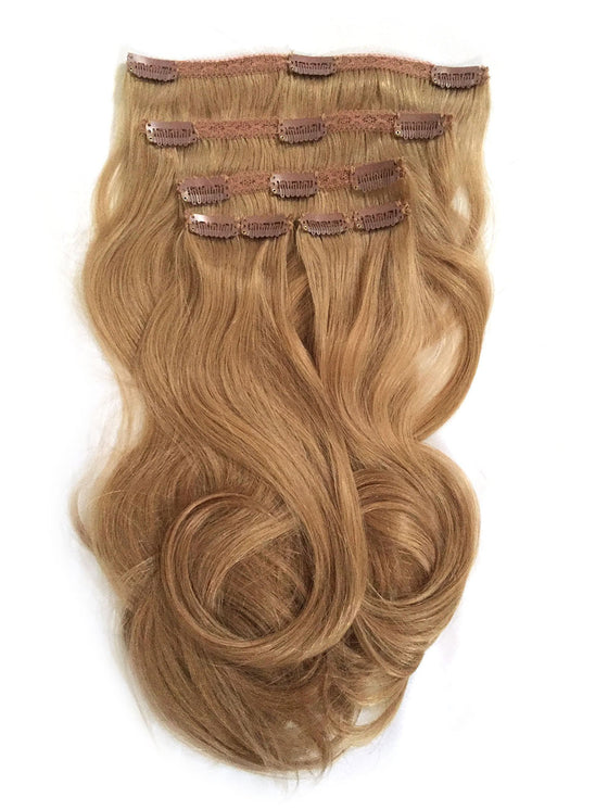 Indian Remy Bodywave Clip on Hair, Color 12 - Blonde Brown