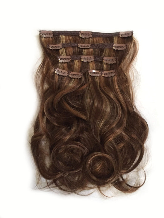 Indian Remy Bodywave Clip on Hair, Tri-Color 4-27-30 - Medium brown, honey blonde, copper red