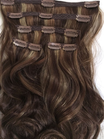 Indian Remy Bodywave Clip on Hair, Tri-Color 4-27-30 - Medium brown, honey blonde, copper red - Hairesthetic