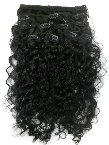 "Clip on Human Hair in Brazilian Curly 18"" - Hairesthetic"