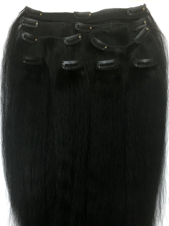"Clip on Human Hair in Kinky Straight 14"" - Hairesthetic"