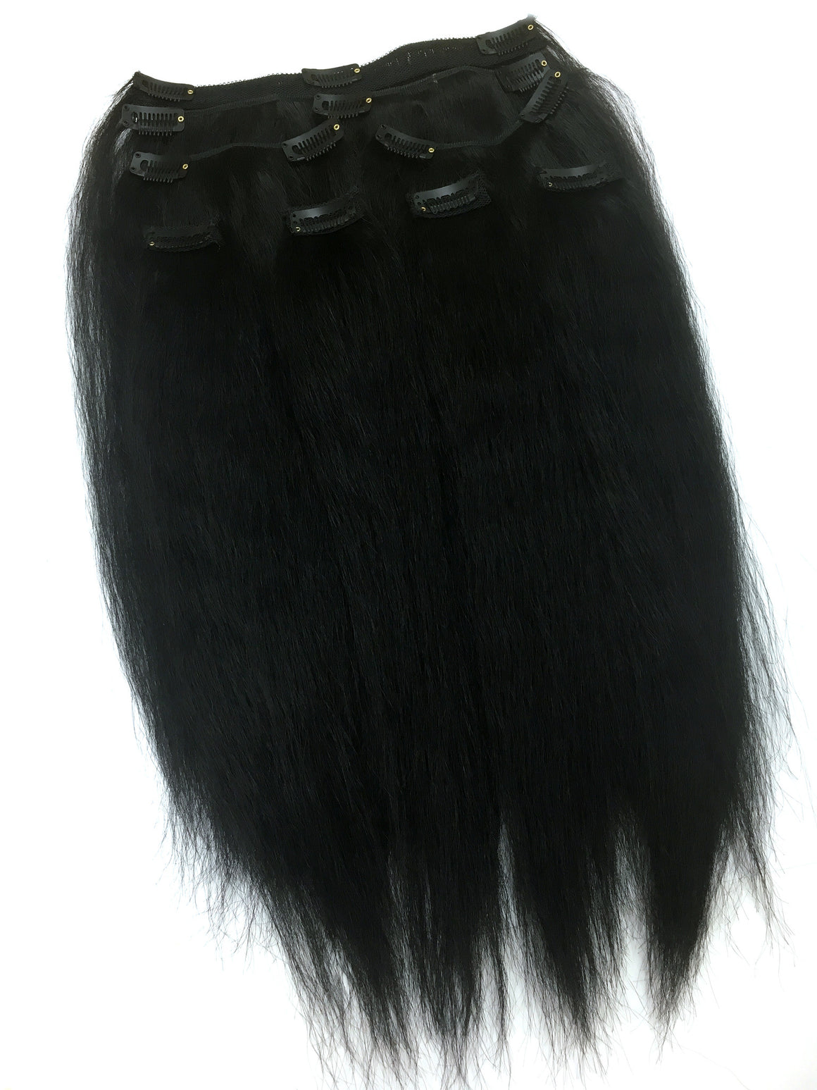 "Clip on Human Hair in Kinky Straight 18"" - Hairesthetic"