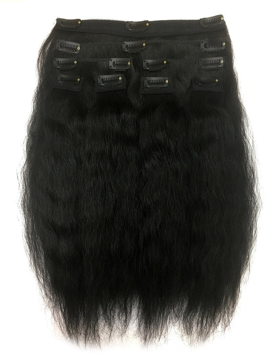 "Clip on Human Hair in Kinky Wavy 14"" - Hairesthetic"