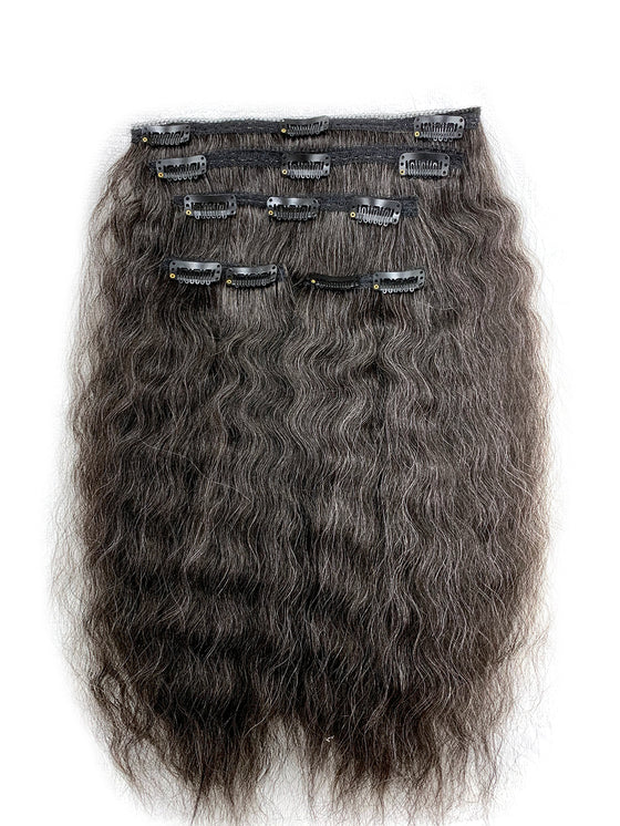"5 piece Kinky Straight 14"" Clip on Hair, 75% Gray Hair 25% Black"