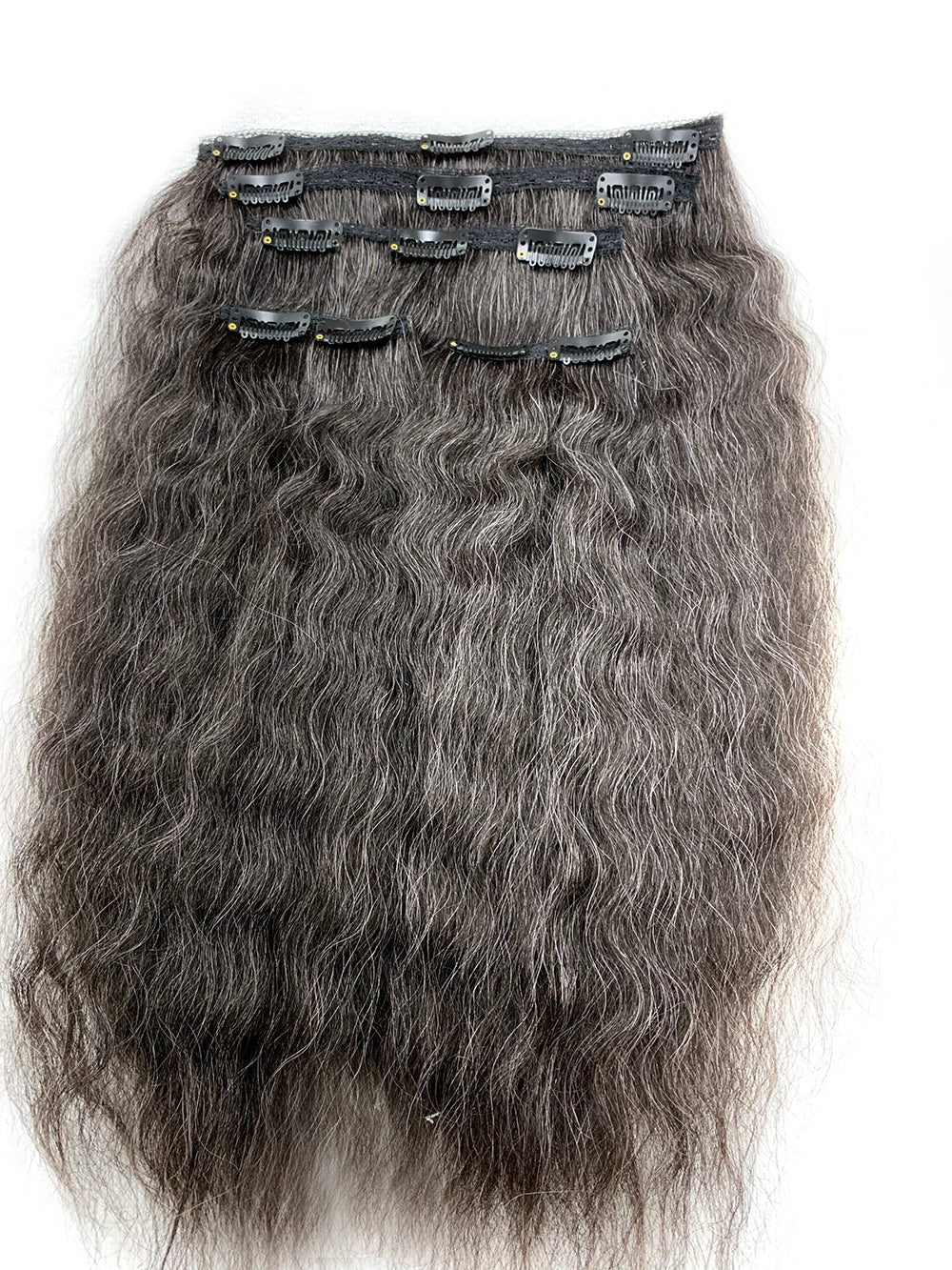 "5 piece Kinky Wave 14"" Clip on Hair, 25% Gray Hair - Hairesthetic"