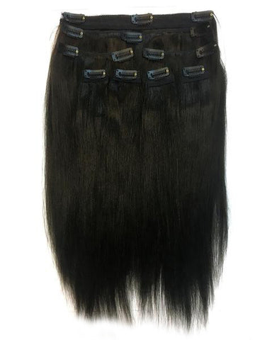 "Clip on Human Hair in Yaki Straight 14"" - Hairesthetic"