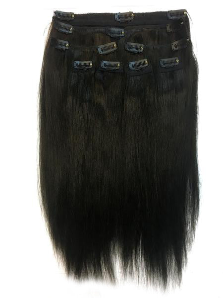 "Clip on Human Hair in Yaki Straight 12"" - Hairesthetic"