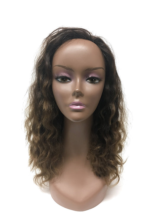 "Custom Half Wig 100% Human Hair in French Wave 14"", Color 1B/30 - Hairesthetic"