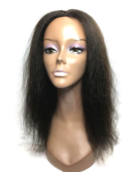 "Hair Topper with Kinky Straight-100% Human Hair 14"" - Hand Ventilated Part"