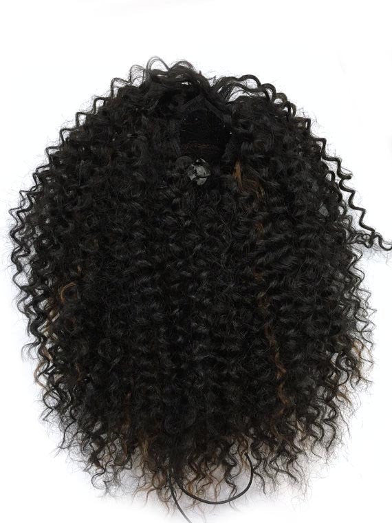 "Draw String Ponytail in Kinky Curly , 100% human hair 18"" - Hairesthetic"