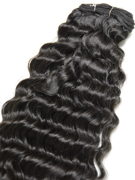 Indian Remy Deep Wave Human Hair Extensions - Wefted Hair 12""