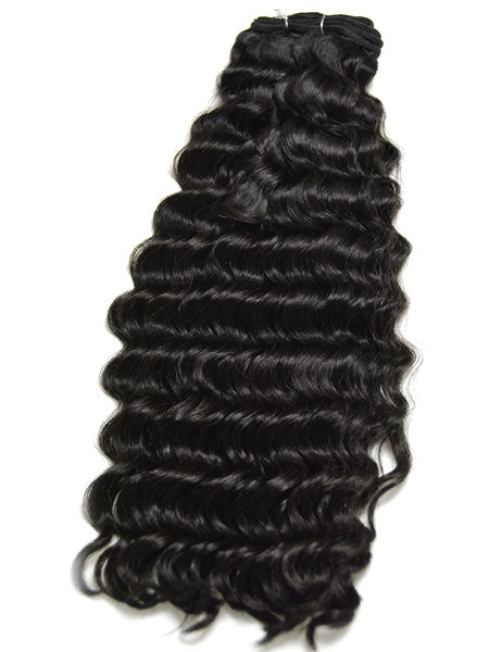 Indian Remy Deep Wave Human Hair Extensions - Wefted Hair 22""
