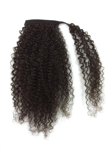 Wrap Around 100% Human Hair Ponytail in Kinky Curly 14""
