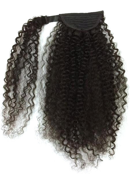 Wrap Around 100% Human Hair Ponytail in Kinky Curly 18""
