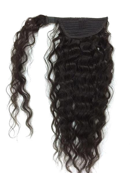 "Wrap Around 100% Human Hair Ponytail in Kinky Wave 18"" - Hairesthetic"