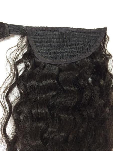 "Wrap Around 100% Human Hair Ponytail in Kinky Wave 14"" - Hairesthetic"