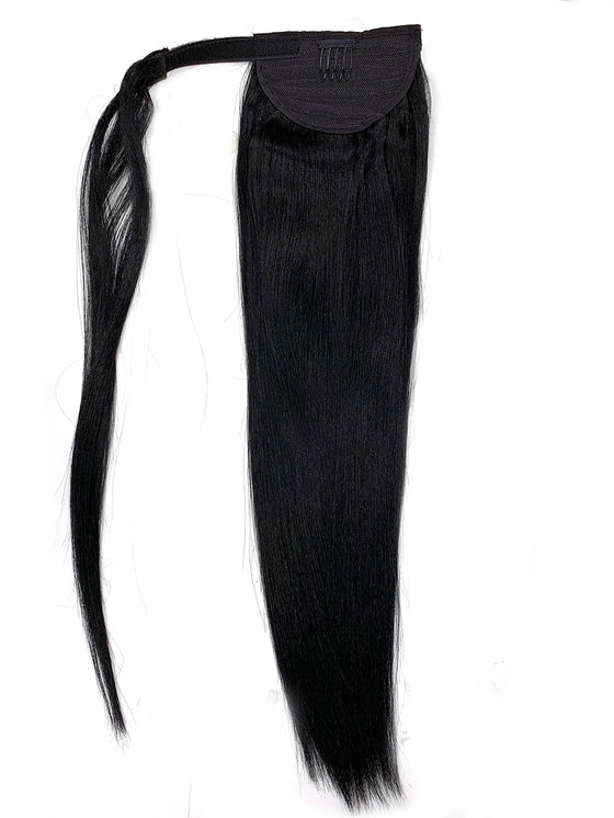"Wrap Around 100% Human Hair Ponytail in Yaki Perm Straight 18"" - Hairesthetic"