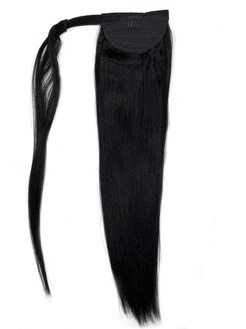 "Wrap Around 100% Human Hair Ponytail in Yaki Perm Straight 14"" - Hairesthetic"