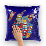 Dance Music Pop Art Sequin Cushion Cover