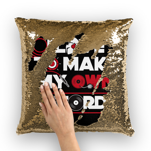 I love to make my own records Sequin Cushion Cover