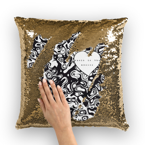 Music is the Answer Sequin Cushion Cover